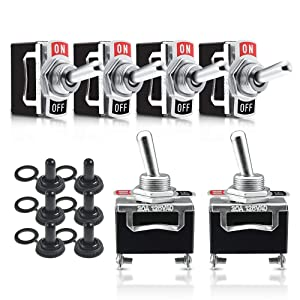 MICTUNING 6 Pack Heavy Duty Toggle Switch 15A 250V 20A 125V SPST 2 Pin On-Off Switch Metal Bat with Waterproof Boot Cap for Car Auto Boat