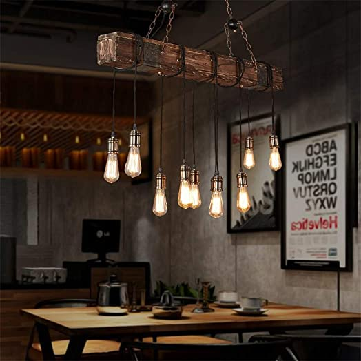 10-Lights Chandelier Wooden Retro Rustic Pendant Light