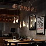 10-Lights Chandelier Wooden Retro Rustic Pendant