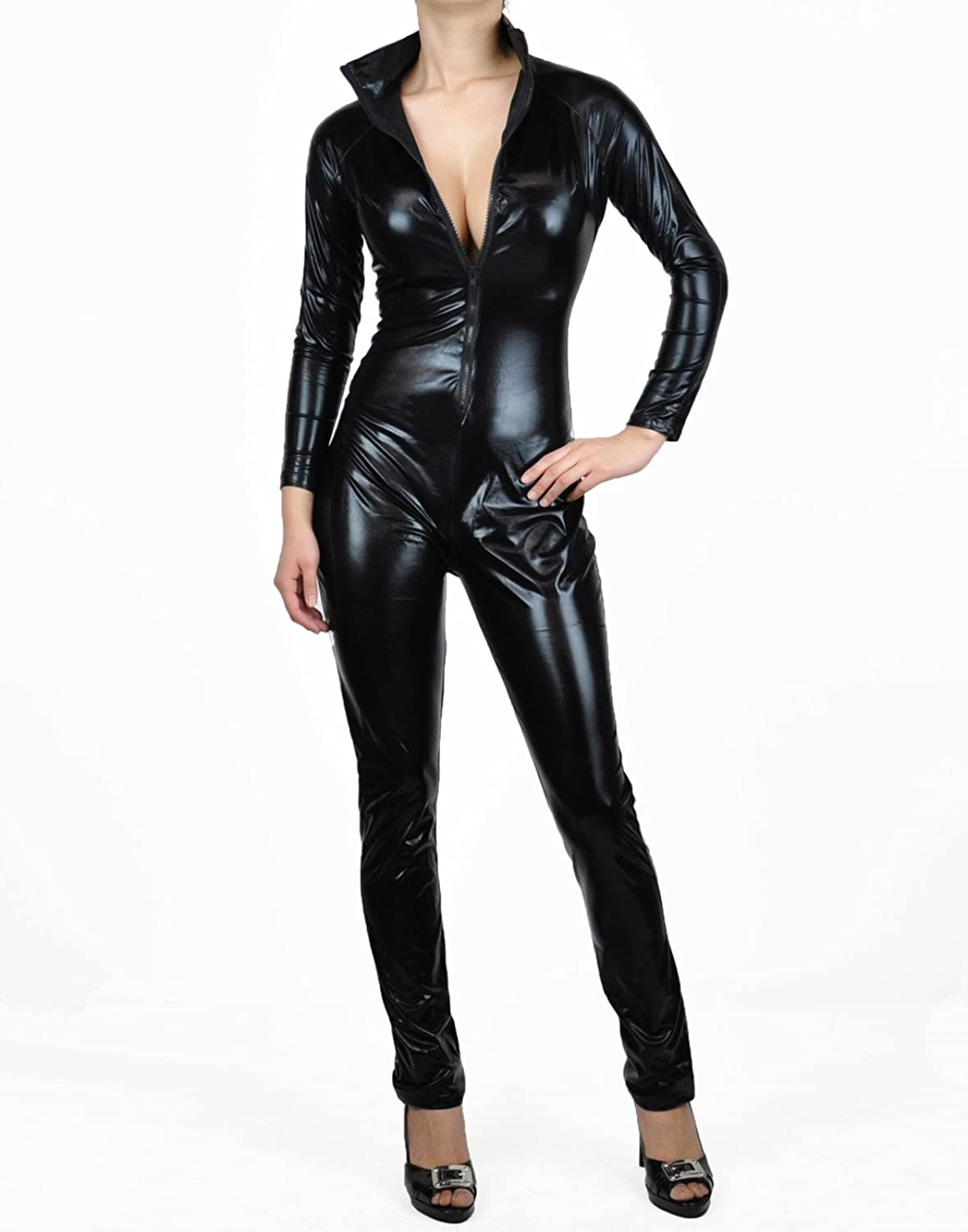 Black Metallic Wet Look Full Bodysuit Costume-Reg and Plus Size