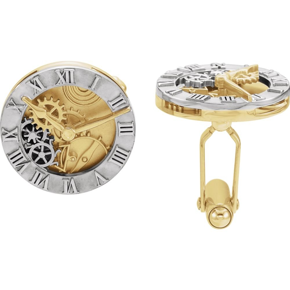 14K White & Yellow Clock Design Cuff Links-Pair