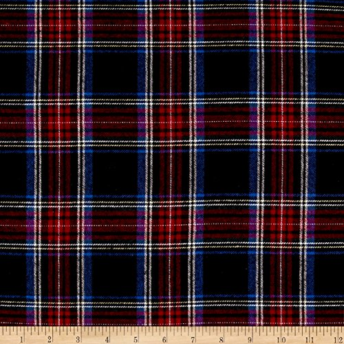 Richland Textiles Yarn Dyed Flannel Plaid Navy Red Fabric By The Yard (5 Oz Shirt Flannel)