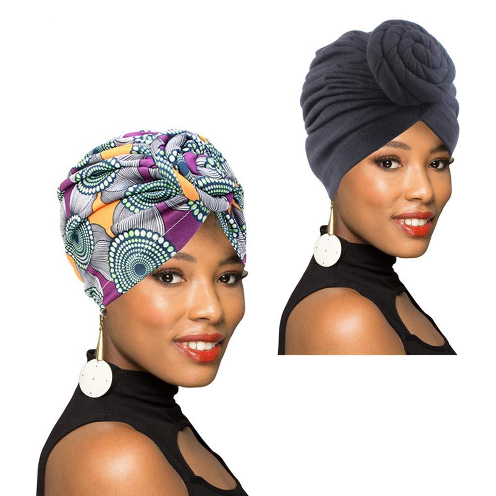 4 Pieces Turban for Women African Pattern Pre-Tied Knot Turban Beanie Bonnet Cap Hat