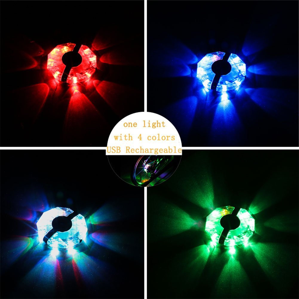 ShiningLove LED Bicycle Wheel Hubs Lights, USB Rechargeable 4 Colors Bike Front/Tail Spoke Wheel Warning Cycling Lights Waterproof Bike Accessories by ShiningLove (Image #3)