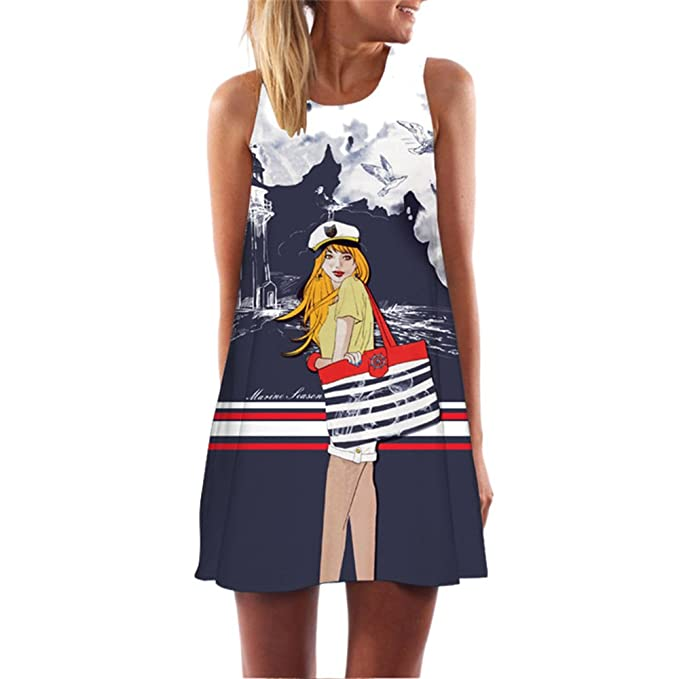 Women Summer 2018 Boho Girls Print Party Clubwear Dress Casual Mini Vestidos Sexy Dress S