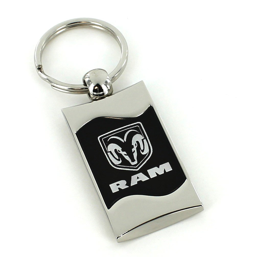 Dodge Ram Black Spun Brushed Metal Key Ring