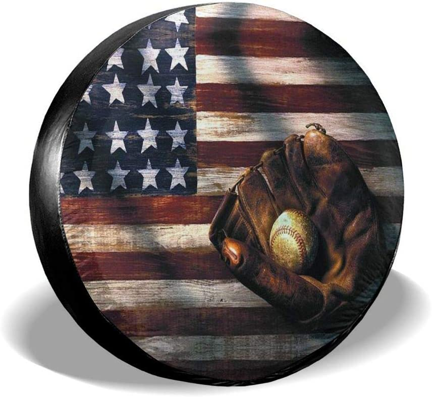 14 15 16 17 DONL9BAUER Spare Tire Cover US Military with American Flag Universal Leather Spare Wheel Cover Sunproof Tire Covers for Je/_ep Trailer RV SUV Truck Camper Travel and Many Vehicles