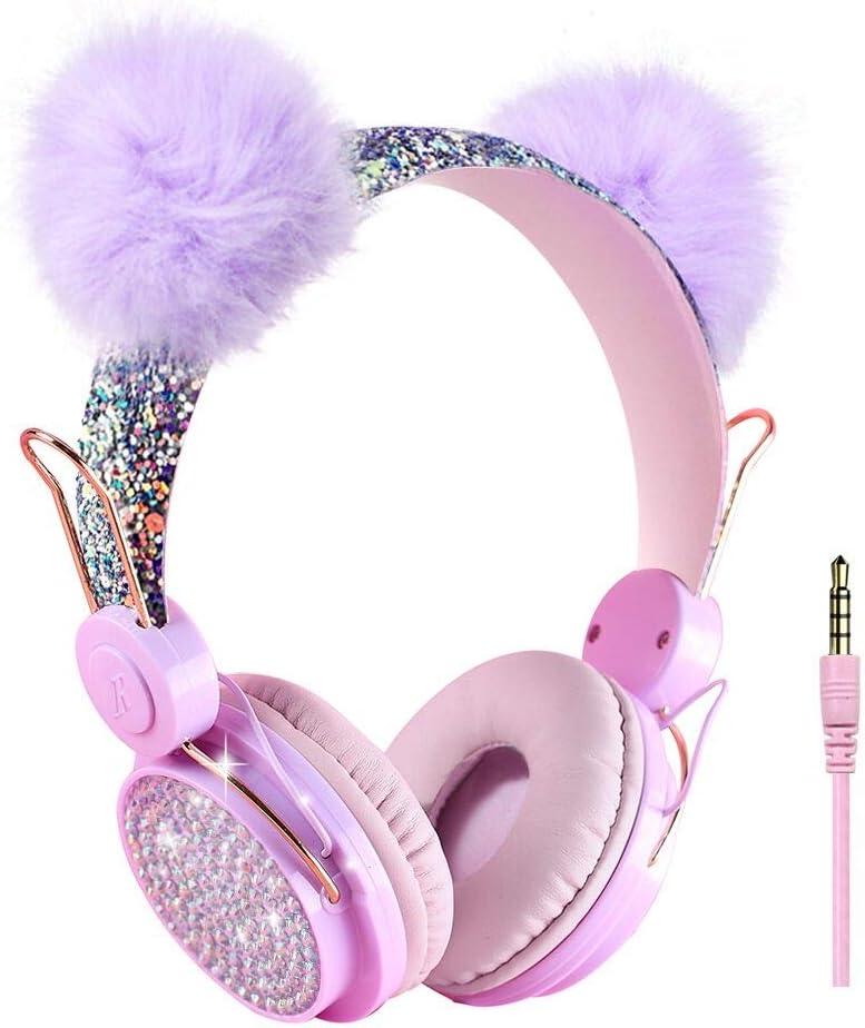 Kids Headphones Glitter Bear Ear Volume Limiting Adjustable Cute Anime Wired Headphones for Girls Boys School (Purple-Bear Ear)