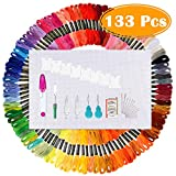 Paxcoo 100 Skeins Embroidery Thread Floss Cross Stitch String Embroidery Aida Cloth with Embroidery Needles and Floss Bobbin for Friendship Bracelet