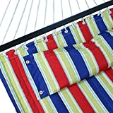 Nova Microdermabrasion Updated Quilted Fabric Hammock with Pillow Double Size Spreader Bar Heavy Duty Portable Outdoor Camping Hammock for Outdoor Patio Yard (480lbs Capacity) (Blue) (Navy Blue)