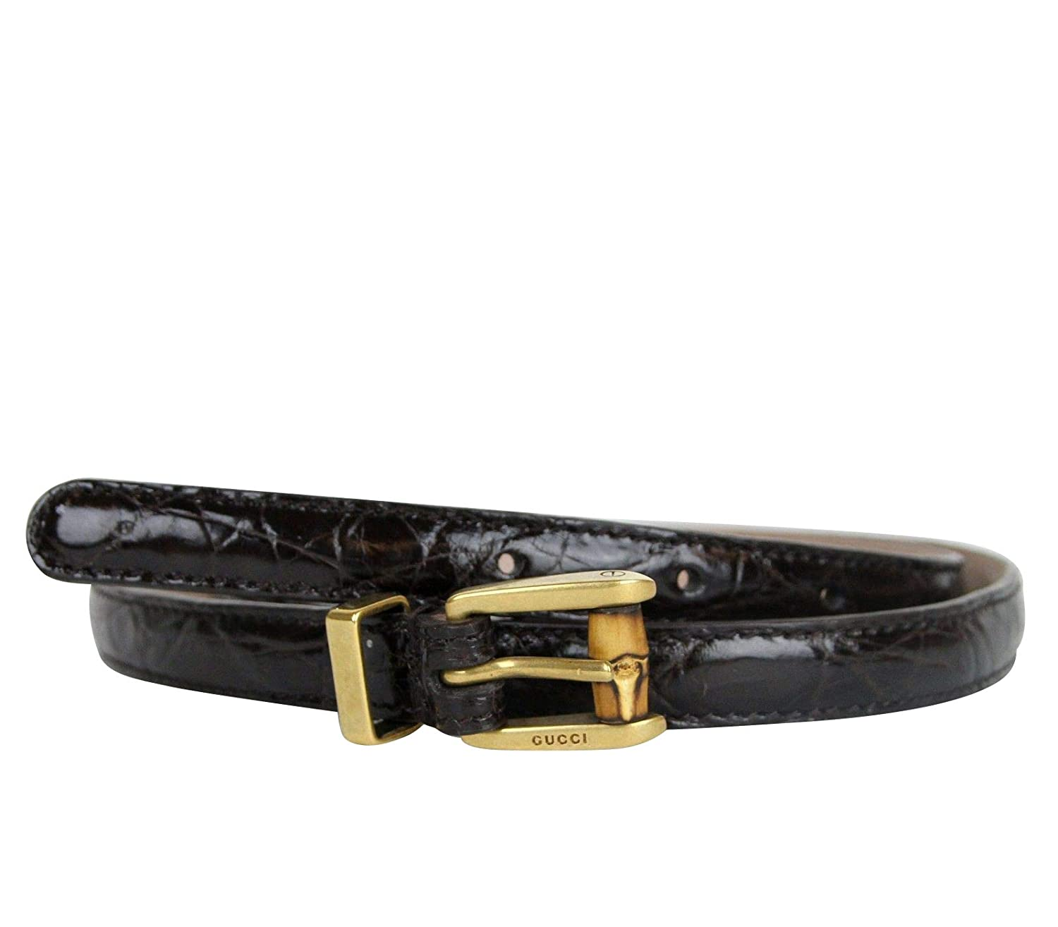 e4e2d867c51 Amazon.com  Gucci Women s Bamboo Buckle Dark Brown Skinny Crocodile Belt  339065 E7I0T 2140  Clothing