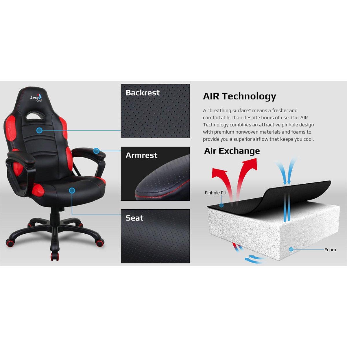 Aerocool ACGC-1014011.11 Air Gaming Silla - Negro: Amazon.es: Oficina y papelería