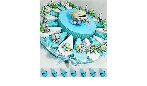 (20 recuerdos + hucha) tarta con recuerdos para bautizo, con motivos de animales y hucha en el centro: Amazon.es: Hogar