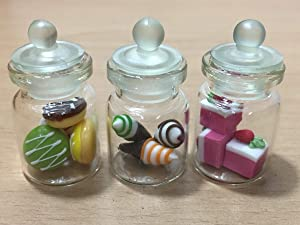 3pc Miniature Food Donut Chocolate Cookie Cake Candy Dollhouse Cake in Clear Glass Mini Bottle Fruit Food #MF039
