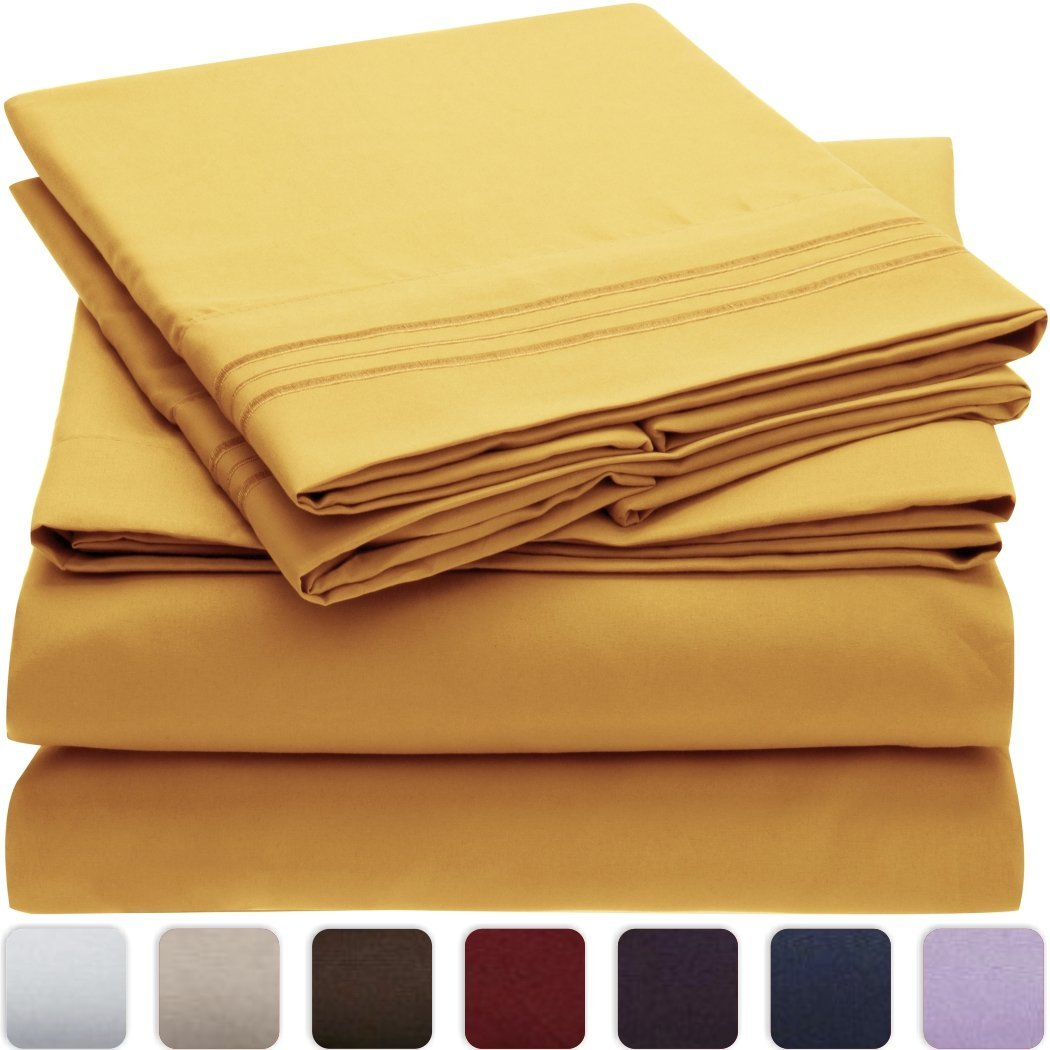 Wrinkle, Fade, Stain Resistant - Hypoallergenic - 4 Piece Queen, Yellow