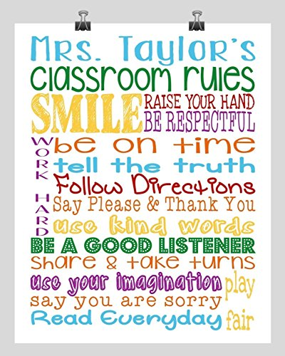 Multiple Rule - Personalized Classroom Rules - Prefect Gift for a Teacher - Available in Multiple Sizes