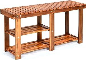 Giantex 2-Tier Shoe Bench Entryway Shoe Rack with Seat, Wood Organizer for Hallway, Bathroom, Living Room, Corridor Storage Shelf 350 Lb Weight Capacity (Teak Color)