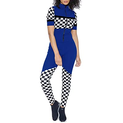 Adogirl Women's Sexy Mock Neck Short Sleeve Zip-Up Bodycon Checkered Jumpsuits: Clothing