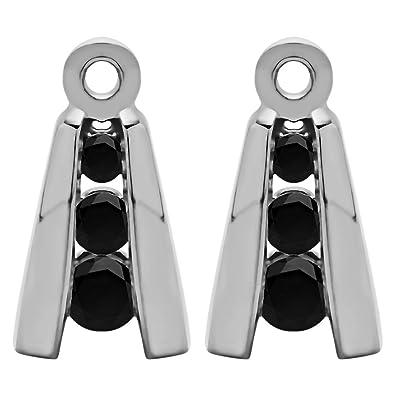 bdc2cb2b42ea3 Amazon.com: 1/5 ct. Black Diamonds Three Stone Earring Jackets in ...