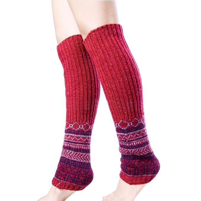Lerben nueva moda mujeres niñas suave Calentador de pierna cubierta de arranque Calcetines Invierno Cálido Leggings mezcla de lana Rojo rosso Talla única: ...
