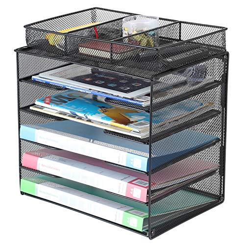 Samstar Paper Organizer Tray,Letter Trays Desk File Organizer with 3 Compartments,Black