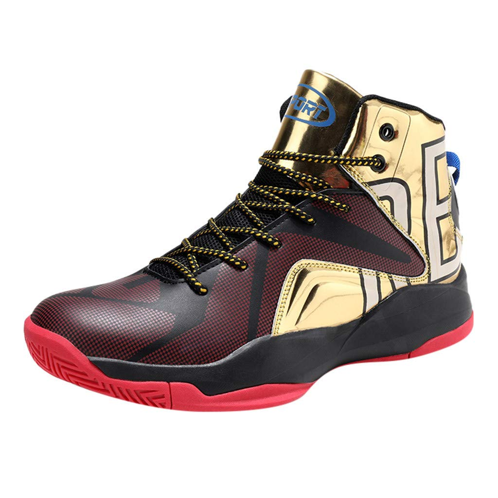 Street Sneakers Men Work Sneakers ✔ Men's High-Top Shock-Absorbing Wear-Resistant Basketball Student Sports Shoes Gold