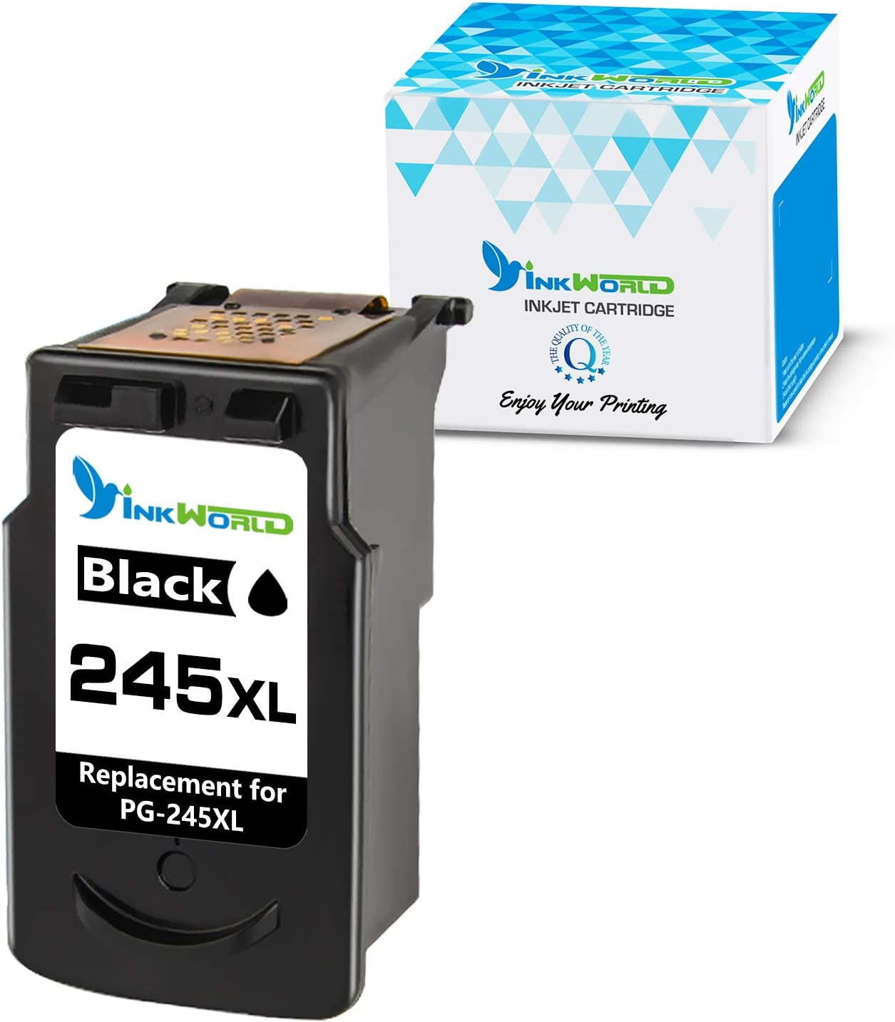 InkWorld Remanufactured Ink Cartridge Replacement for Canon PG-245XL 245 XL Use with Pixma MG3022 MG2522 TR4520 TR4522 MG2922 MG2920 TS202 MX492 MX490 iP2820 TS302 MG2520 MG2525 Printer (1 Black)