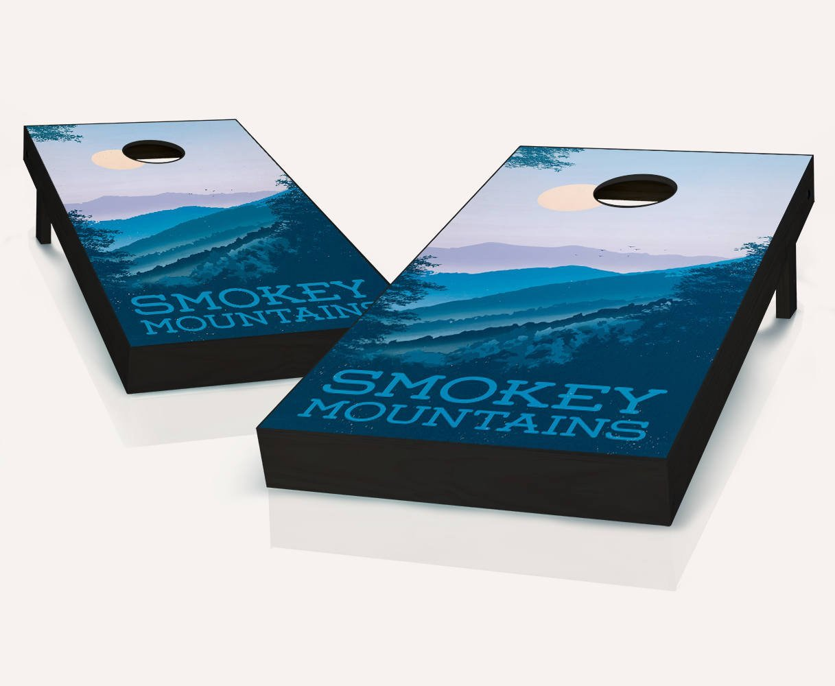 Great Smoky Mountain ATTRACTION Cornhole Boards Regulation Size Game Set Baggo Bean Bag Toss + 8 ACA Regulation Bags