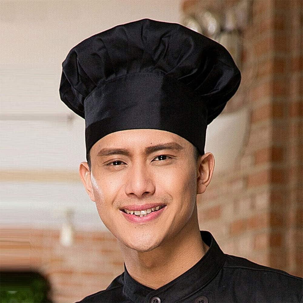 Black YUDUO 6pieces Chef Hat, Adult Adjustable Elastic Baker Kitchen Cooking Chef Cap