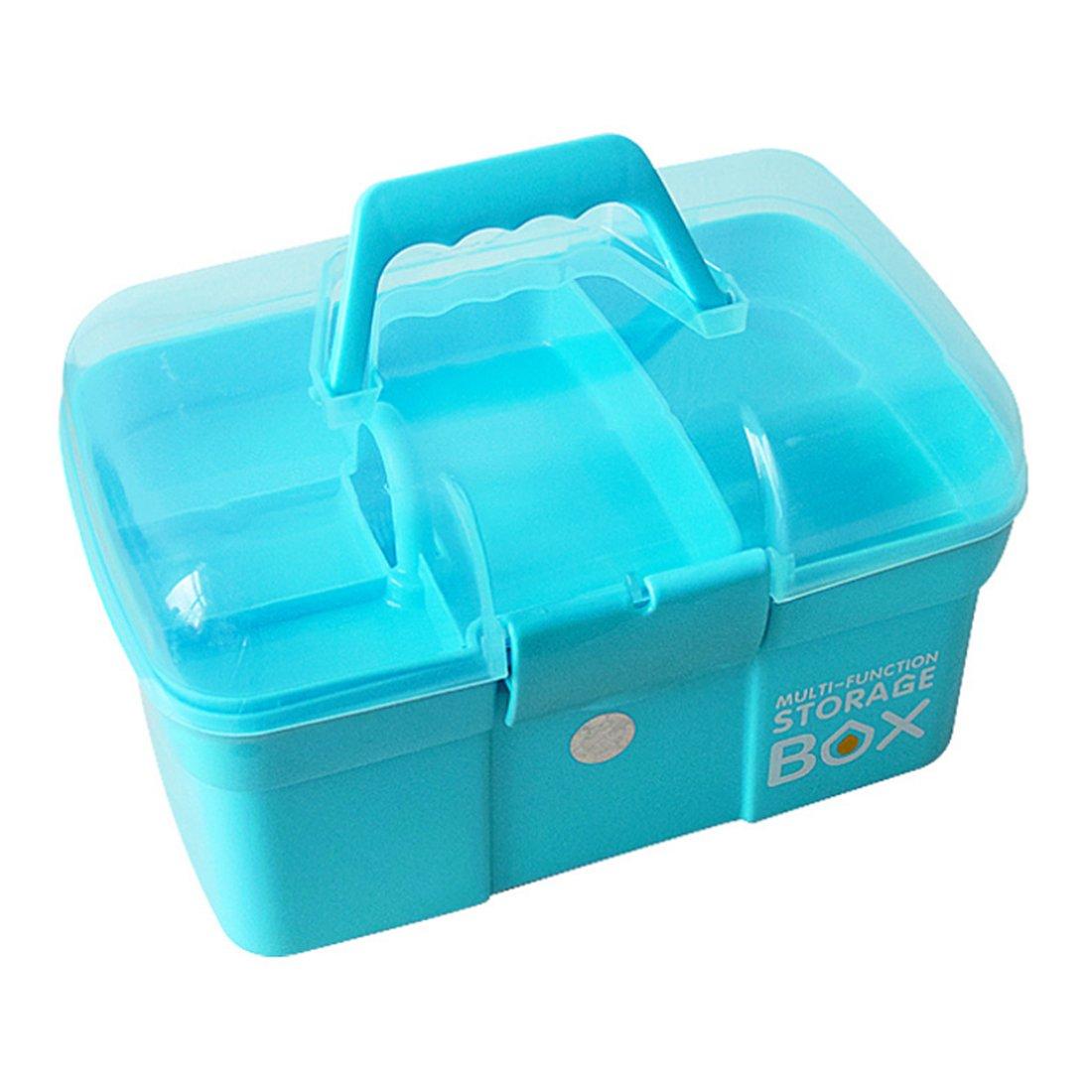 LVPY Scatola per Medicinali in Plastica, Cassetta del pronto soccorso con manico, Blu, 31.5 x 21 x 19.5 cm, Scatole di immagazzinaggio