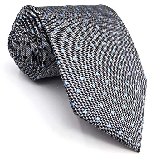 Shlax&Wing New Design Dots Neckties For Men Grey Blue Silk Mens Tie Business Classic -