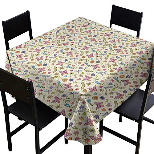 SKDSArts Wholesale tablecloths Flowers,Pattern with Abstract Colorful Flowers Dragonfly Butterfly Ladybug Doodle Ornaments, Multicolor,W50 x L50 Square Polyester Tablecloth