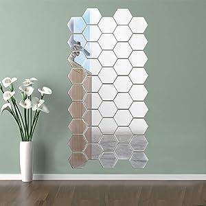 15PCS Mirror Wall Stickers Hexagon Mirror Sticker Removable Art DIY Home Decorative Hexagonal Acrylic Mirror Wall Sticker Decal for Home Living Room Bedroom Decor