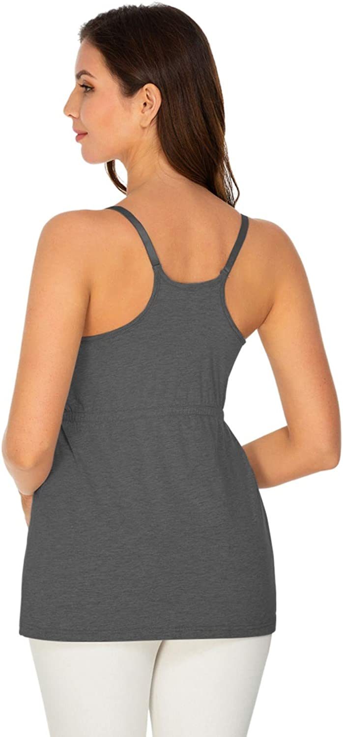 Womens Nursing Tank Tops Cotton for Breastfeeding Loose Maternity Cami with Build-in Shelf Bra