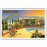 GREETINGS FROM ILLINOIS vintage reprint postcard set of 20 identical postcards. Large letter US state name post card pack (ca. 1930's-1940's). Made in USA.