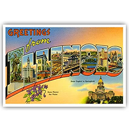 Amazon greetings from illinois vintage reprint postcard set of greetings from illinois vintage reprint postcard set of 20 identical postcards large letter us state m4hsunfo