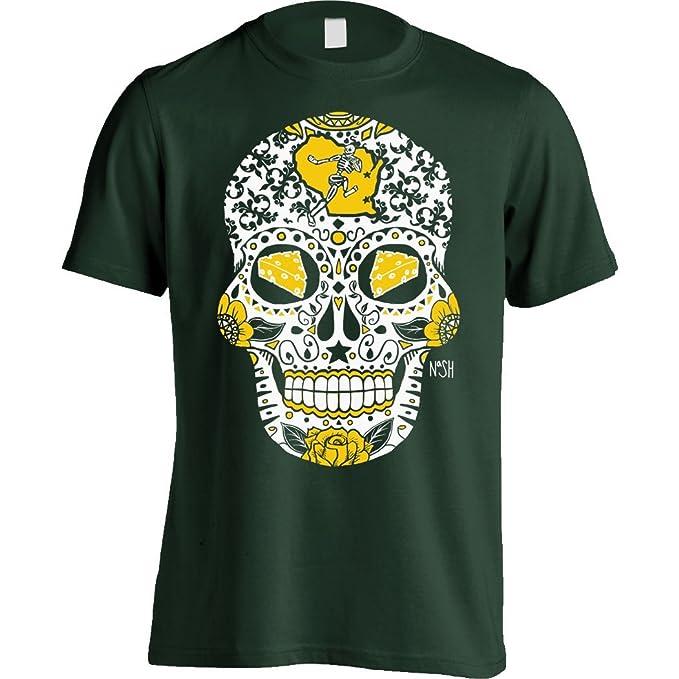 Amazon.com  America s Finest Apparel Green Bay Sugar Skull Shirt ... 3546d6297