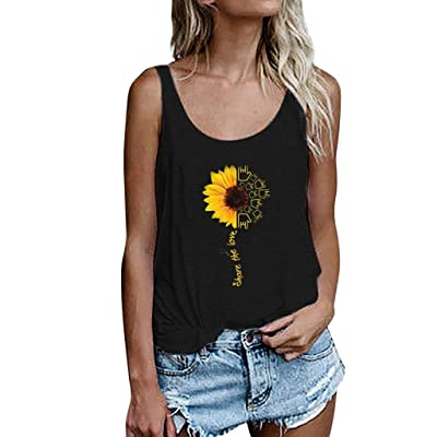 Fitfulvan Women's Sunflower Printing Vest Sleeveless Loose Crop Tank Tops Summer Fashion Wild Basic Blouse: Clothing