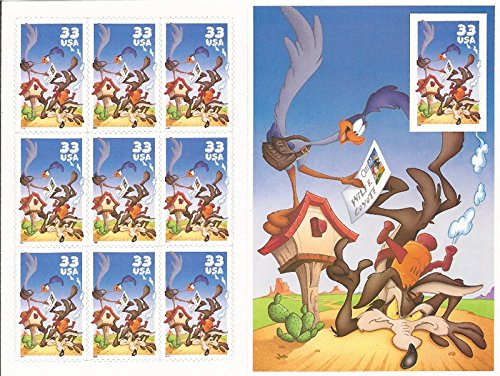 Road Runner & Wile E. Coyote Sheet With Imperforate Stamp Scott (Imperforated Sheet)