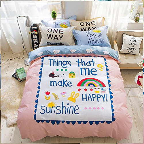 WarmGo Home Textile Duvet Cover Set Full Queen Size 4 Piece for Adult Kids Rainbow Flower Happy Pattern Bedding Sets without Comforter by WarmGo