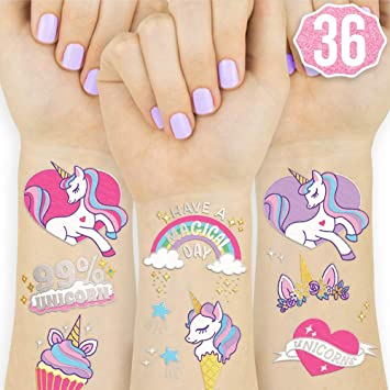 1058ff108 SAKOLLA Unicorn Temporary Tattoos Stickers - Unicorn Watercolors Tattoos  Perfect for Girls Unicorn Party Favors Supplies