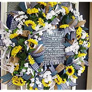 Great Gift for Grandparents, Sunflower Wreath, Country Farmhouse Patio Decoration, Porch or Garden Decor, Grandparents Day Fall, Spring, Summer 71