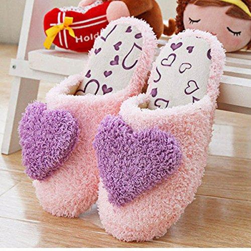 zapatillas HuntGold corazón antideslizante de amor morado en dormitorio algodón interior F77qwvd