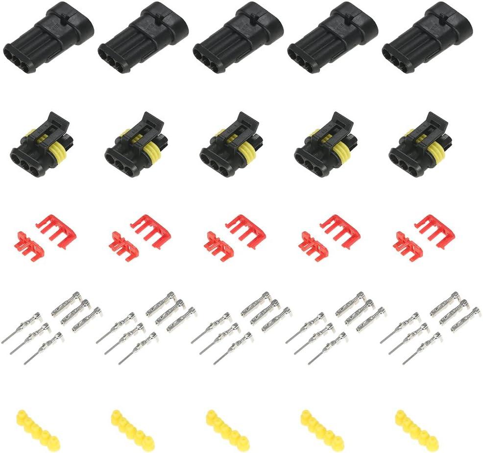 15 kits 2 3 4 broches ont scell/é la prise /électrique imperm/éable de connecteur de fil pour lautomobile de voiture
