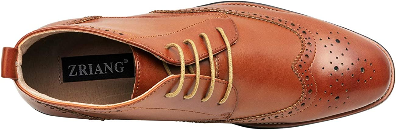 ZRIANG Mens Oxford Dress Leather Lined Round Toe Angle Boots