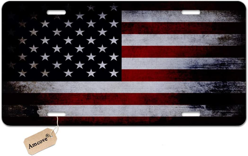 Amcove License Plate Vintage American Flag Decorative Car Front License Plate,Vanity Tag,Metal Car Plate,Aluminum Novelty License Plate for Men//Women//Boy//Girls Car,6 X 12 Inch