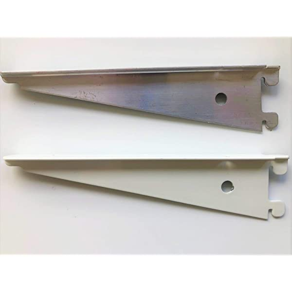 Wall Mounted Aluminium British T-Slot Spur Shelving® Uprights and Brackets White