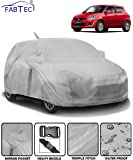 Fabtec Waterproof Car Body Cover for Maruti Swift (2012-2017) with Mirror Antenna Pocket (Full Sized, Triple Stitched, Fully Elastic) (Light Grey)
