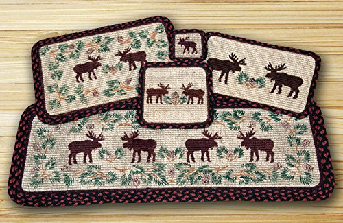 Earth Rugs WW-019 Moose Pinecone Design Rectangle Wicker Weave Table Runner, 13 x 36