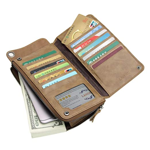 b070e48a911e1 Mens Brown Leather Wallet Bifold - Long Slim Money Clip Travel Wallet Case  Black